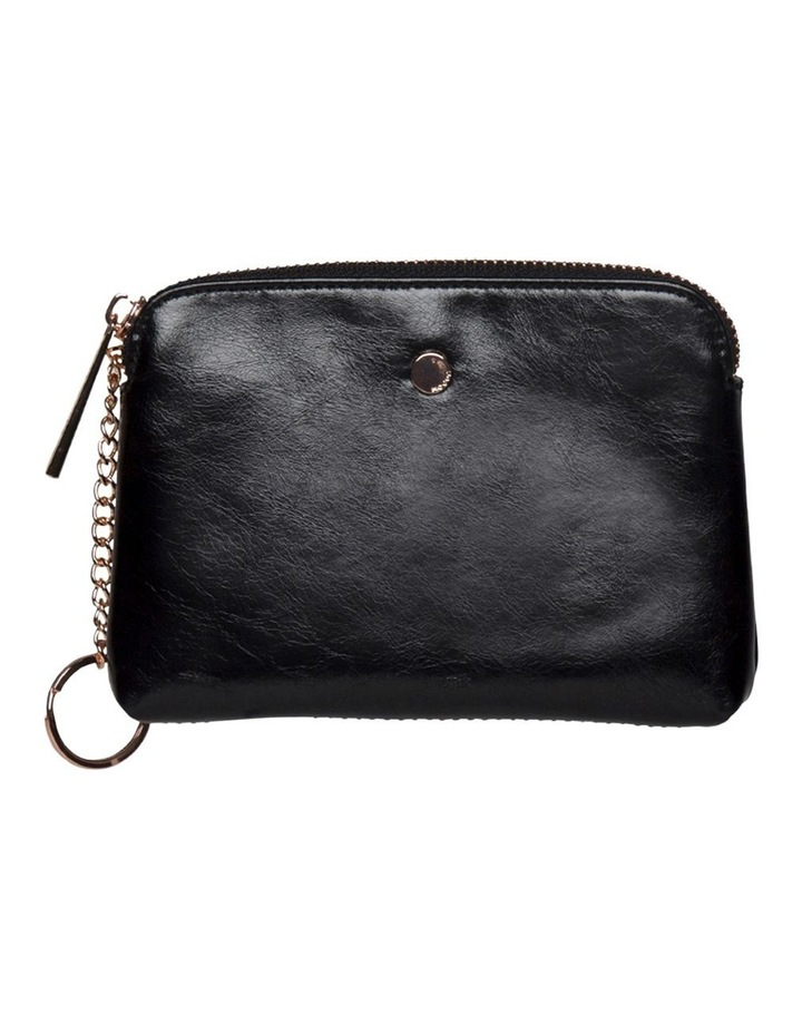 Sylvia Crinkled Patent Leather Coin Wallet - Black image 1