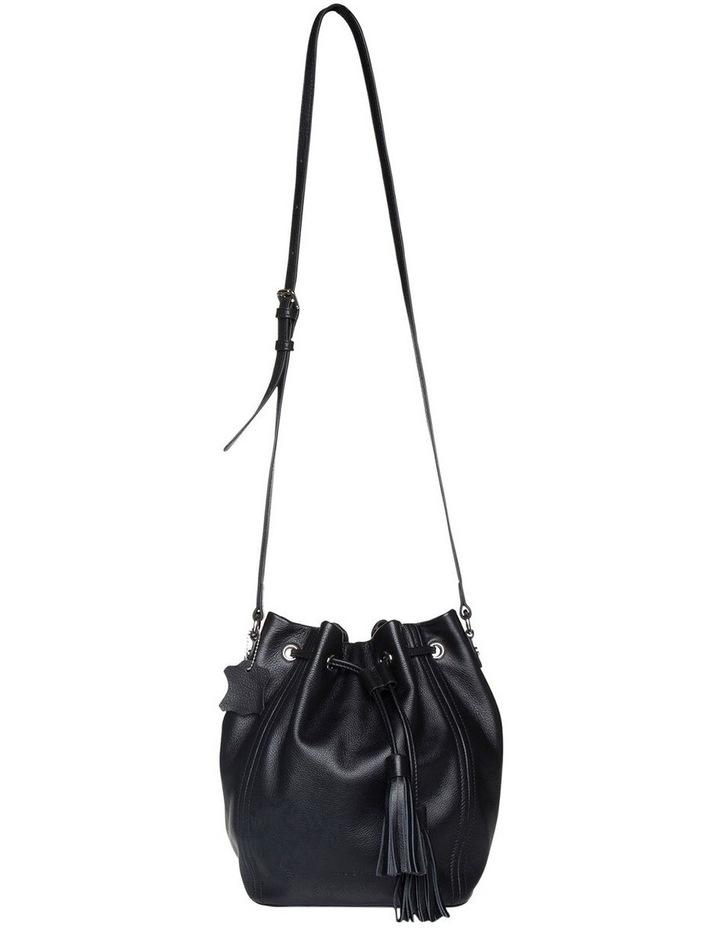 Tassel Leather Bucket Bag - Black image 1
