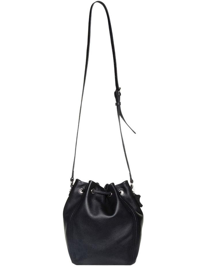Tassel Leather Bucket Bag - Black image 2