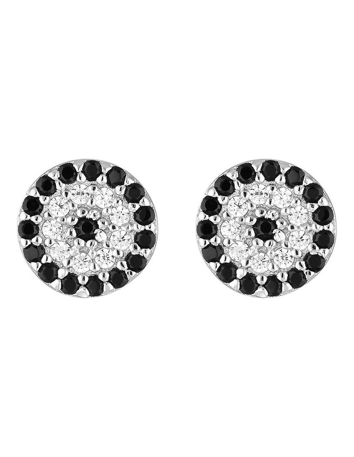 Lucky Sterling Silver Stud Earrings w/ Cubic Zirconia - Silver image 1