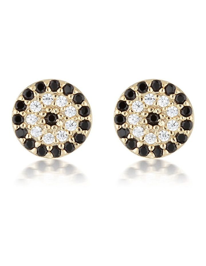 Lucky Sterling Silver Stud Earrings w/ Cubic Zirconia - Gold image 1