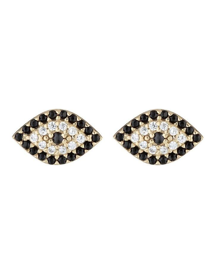 Evil Eye Stud Earrings w/ Cubic Zirconia - Gold image 1