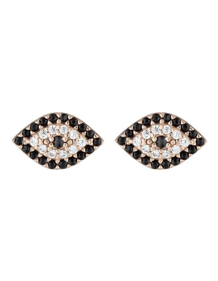 Evil Eye Stud Earrings-Rose Gold image 1