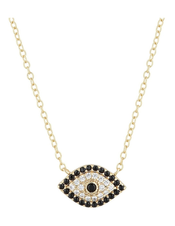 Evil Eye Sterling Silver Necklace w/ Cubic Zirconia - Gold image 1