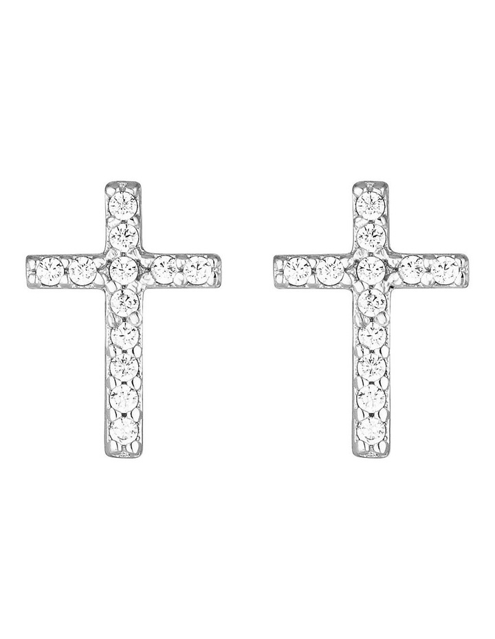 Cross Stud Earrings-Silver image 1