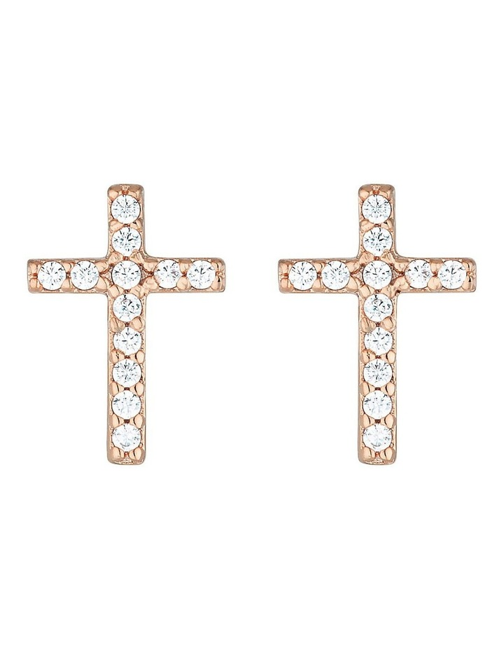 Sterling Silver Cross Stud Earrings w/ Cubic Zirconia - Rose Gold image 1