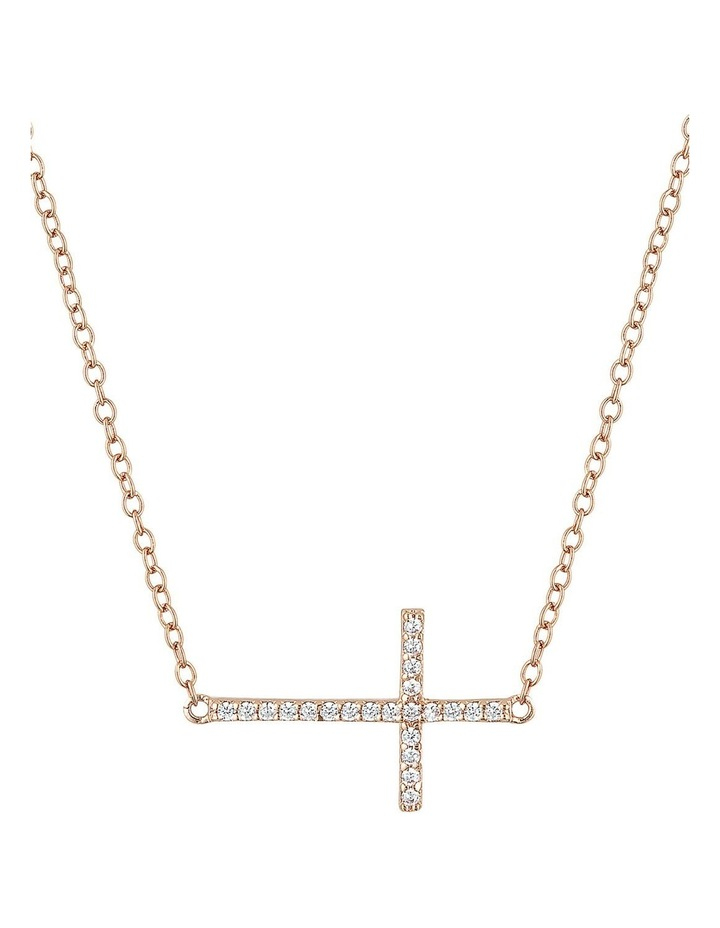 Sterling Silver Cross Necklace w/ Cubic Zirconia- Rose Gold image 1