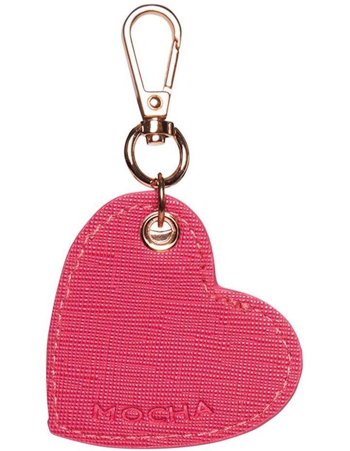 Initial Heart Saffiano Keyring - Hot Pink image 1