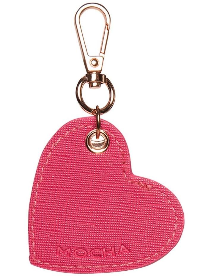 Initial Heart Saffiano Keyring - Hot Pink image 2