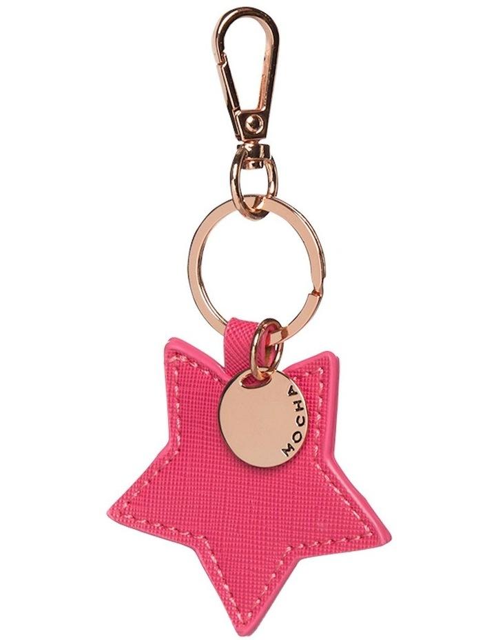 Initial Star Saffiano Keyring - Hot Pink image 1