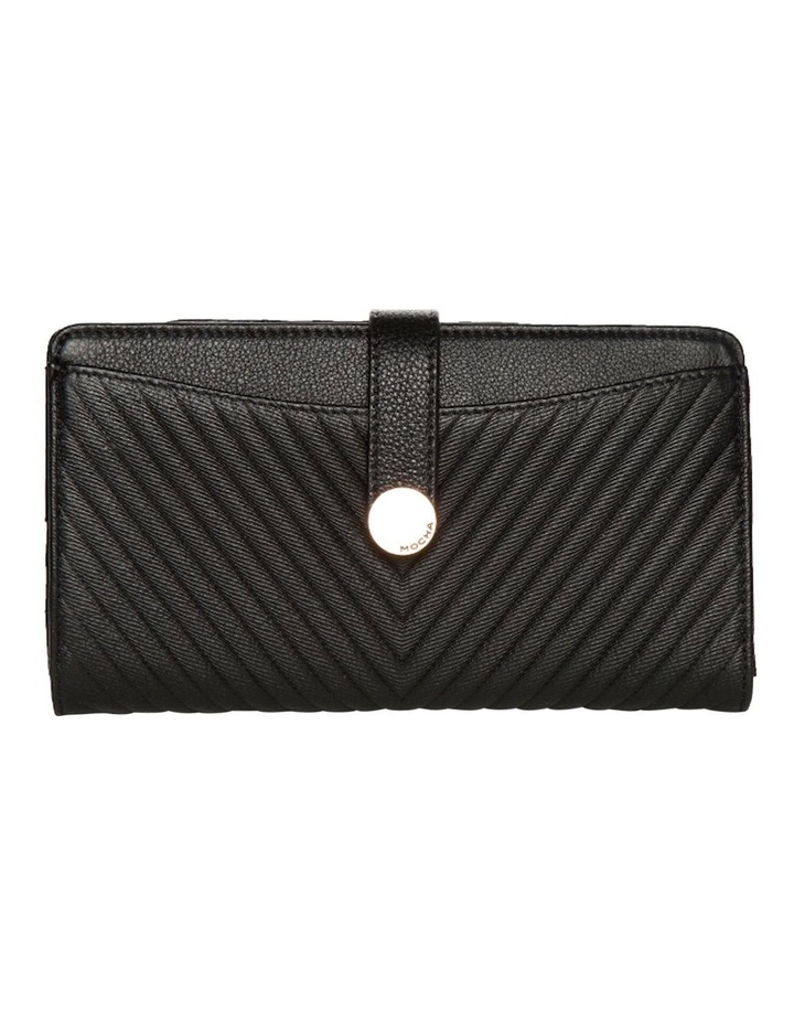 Chevron Clip Leather Wallet - Black image 1