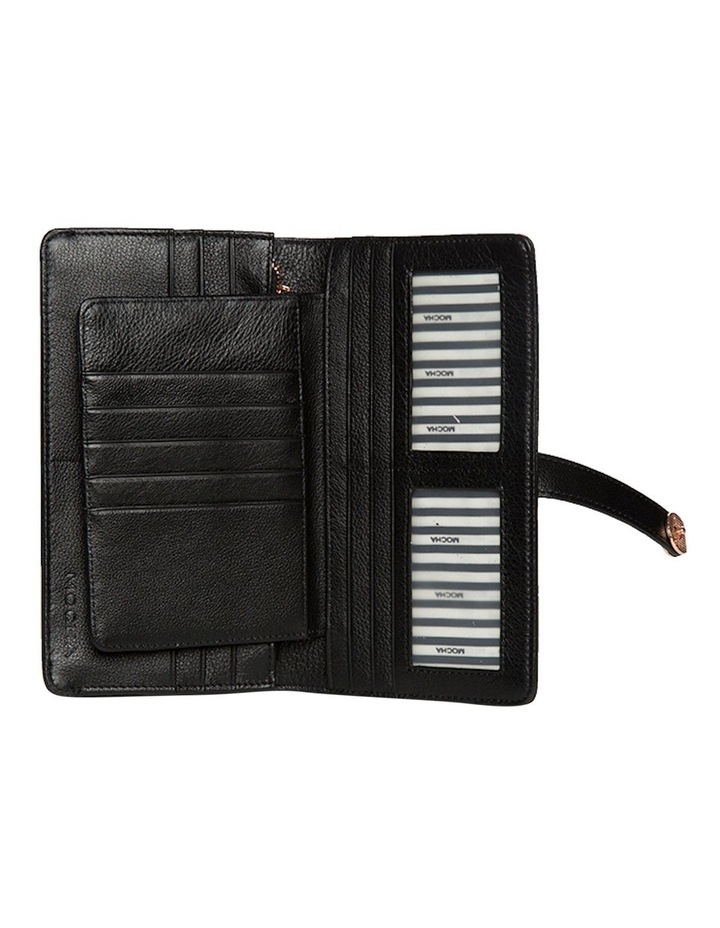 Chevron Clip Leather Wallet - Black image 3