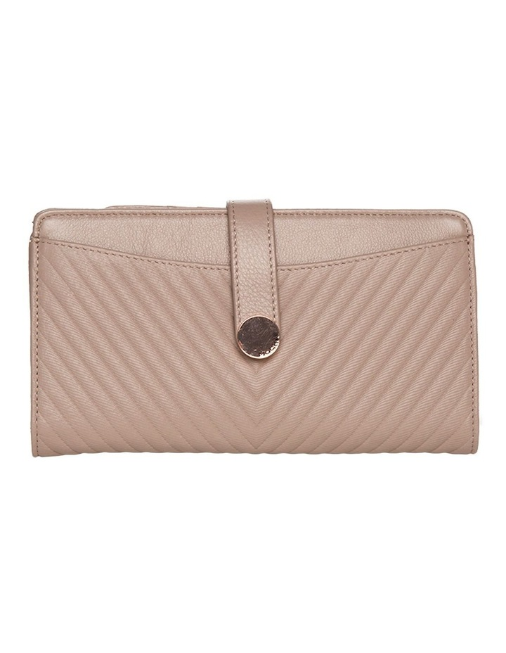 Chevron Clip Leather Wallet - Taupe image 1