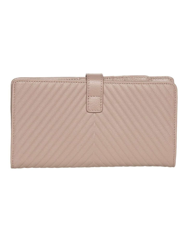 Chevron Clip Leather Wallet - Taupe image 2