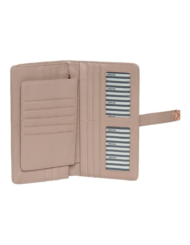 Chevron Clip Leather Wallet - Taupe image 3