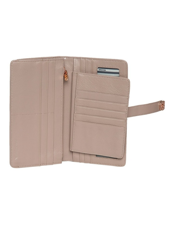 Chevron Clip Leather Wallet - Taupe image 4