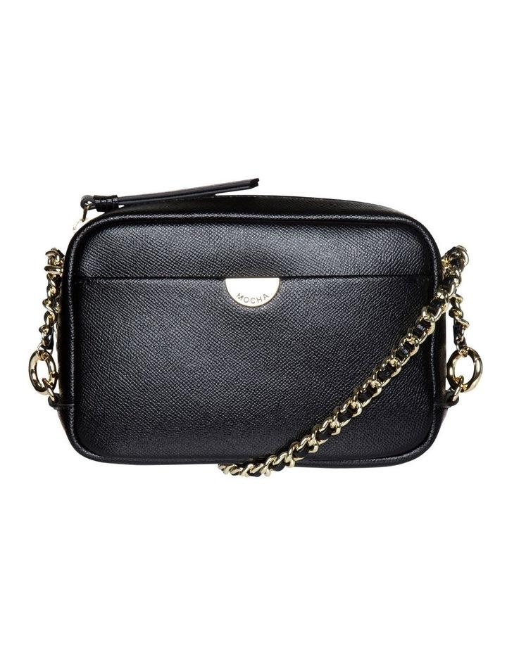 Premium Chain Leather Crossbody Bag - Black image 1