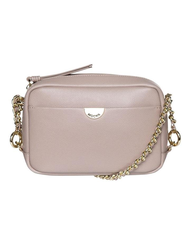Premium Chain Leather Crossbody Bag - Taupe image 1