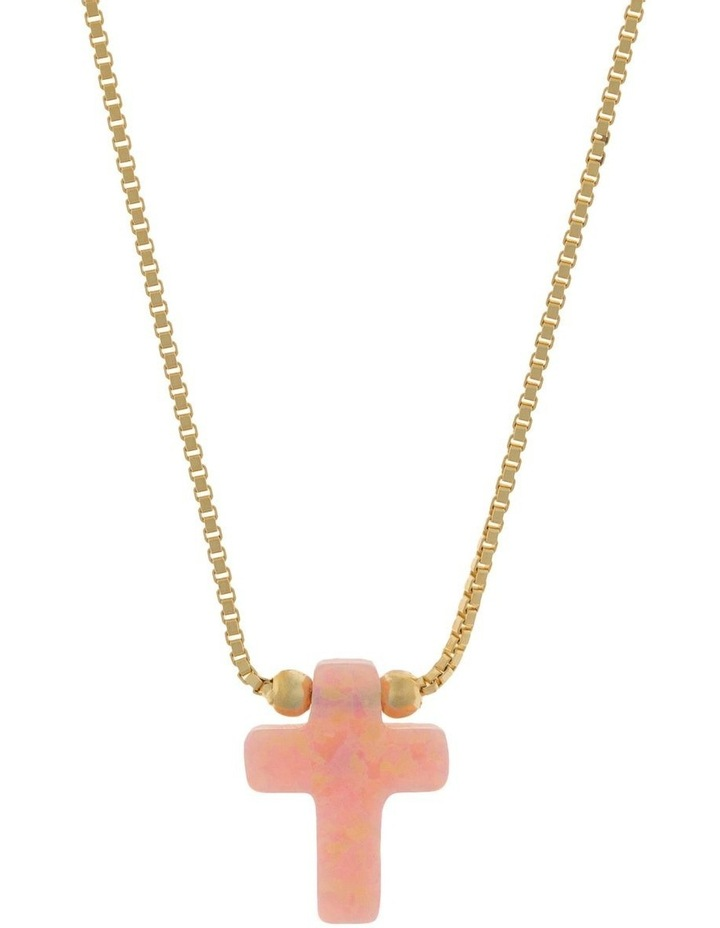 Sterling Silver Mini Cross Gold Fine Necklace - Pink image 1