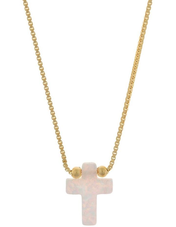 Sterling Silver Mini Cross Gold Fine Necklace - White image 1