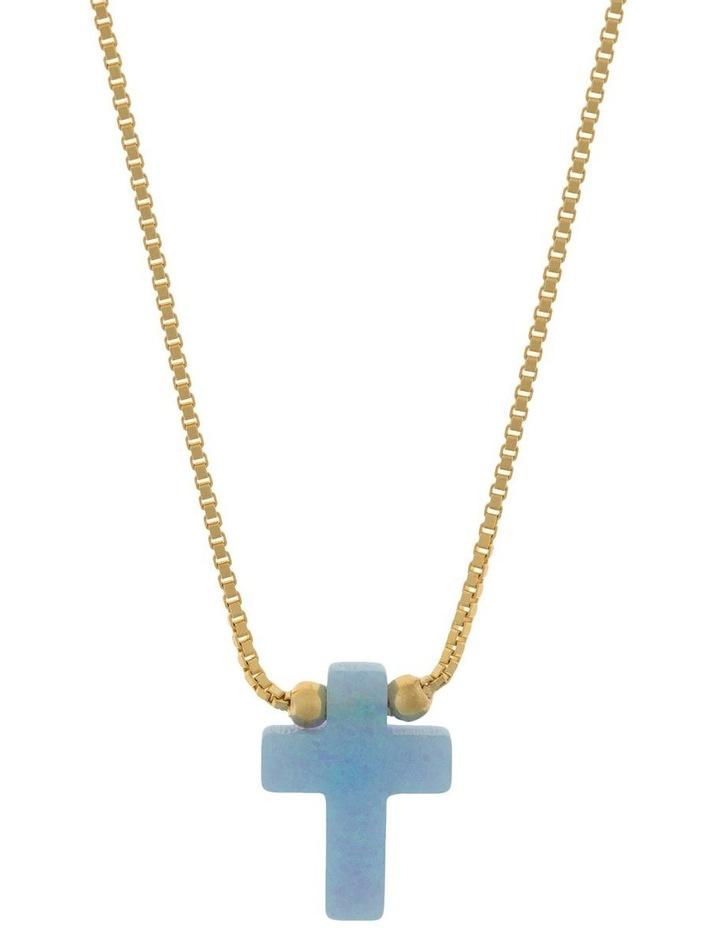 Sterling Silver Mini Cross Gold Fine Necklace - Light Blue image 1