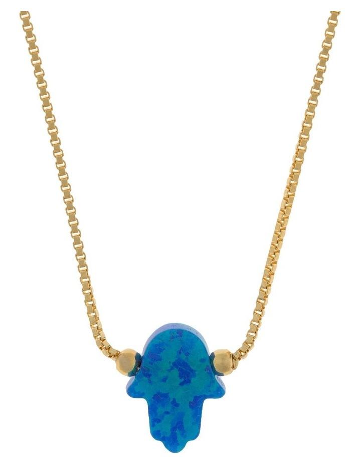 Sterling Silver Mini Hamsa Gold Fine Necklace - Blue image 1