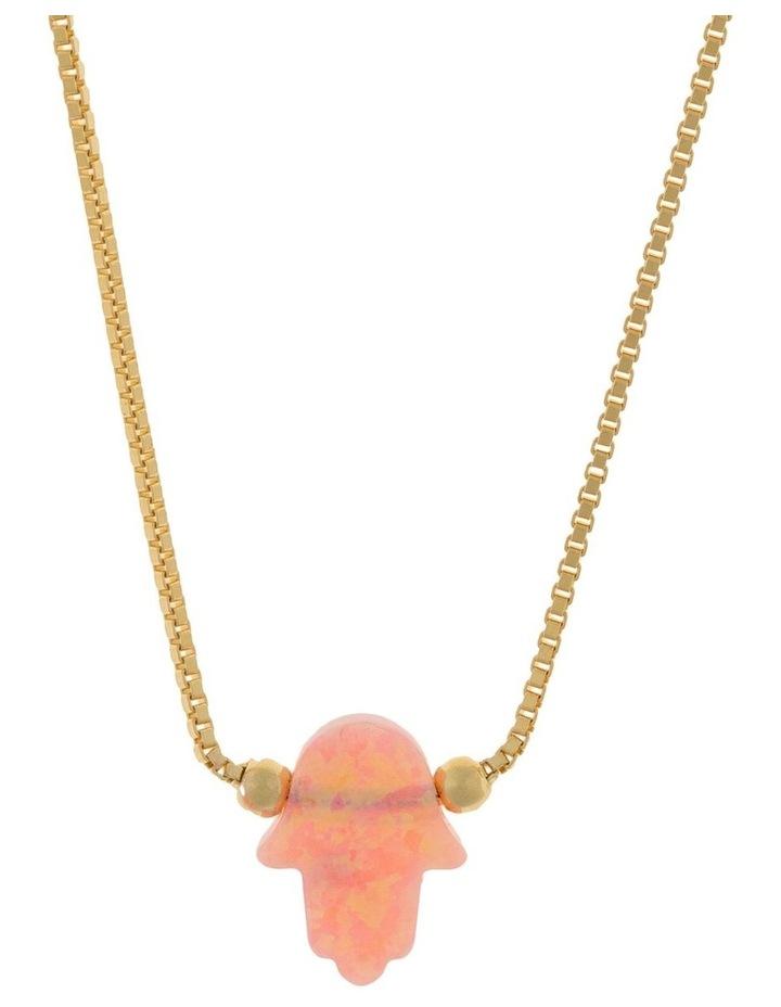 Sterling Silver Mini Hamsa Gold Fine Necklace - Pink image 1