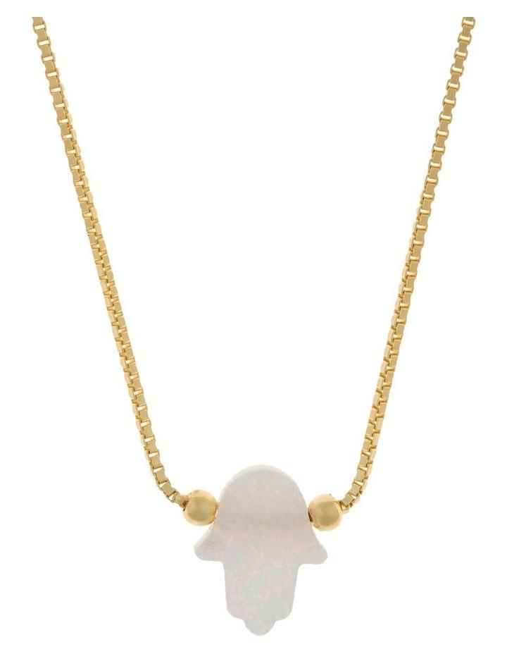 Sterling Silver Mini Hamsa Gold Fine Necklace - White image 1
