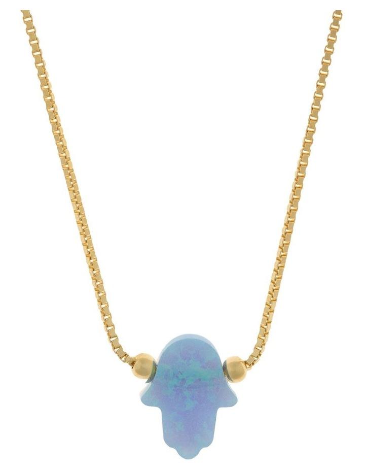 Sterling Silver Mini Hamsa Gold Fine Necklace - Light Blue image 1