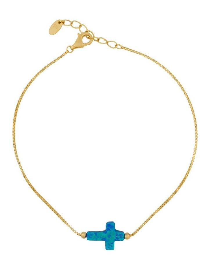 Sterling Silver Mini Cross Gold Fine Bracelet - Blue image 1