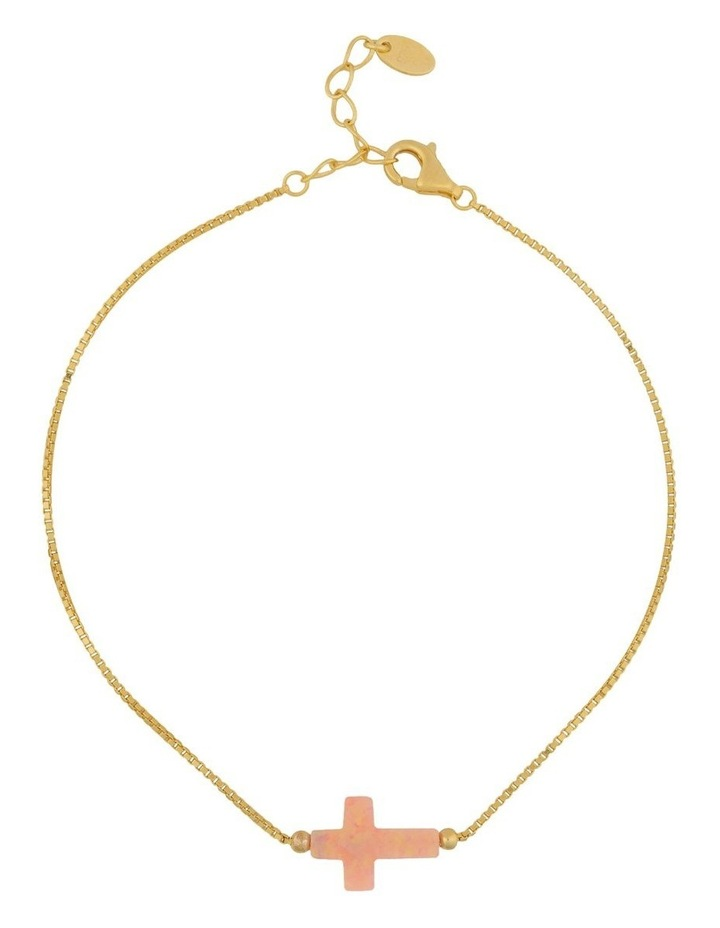 Sterling Silver Mini Cross Gold Fine Bracelet - Pink image 1