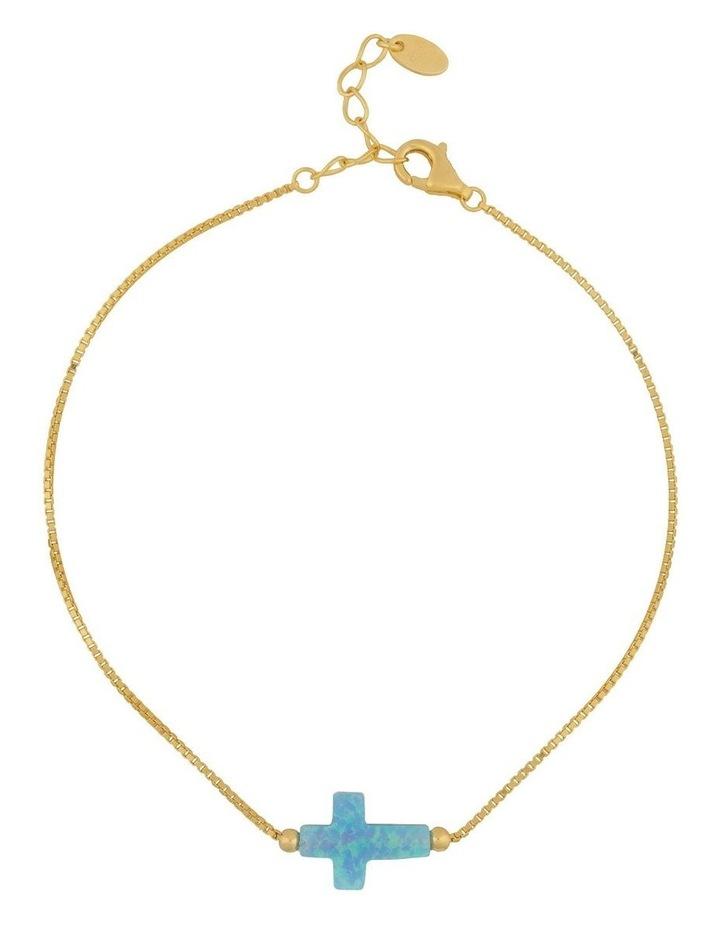 Sterling Silver Mini Cross Gold Fine Bracelet - Light Blue image 1