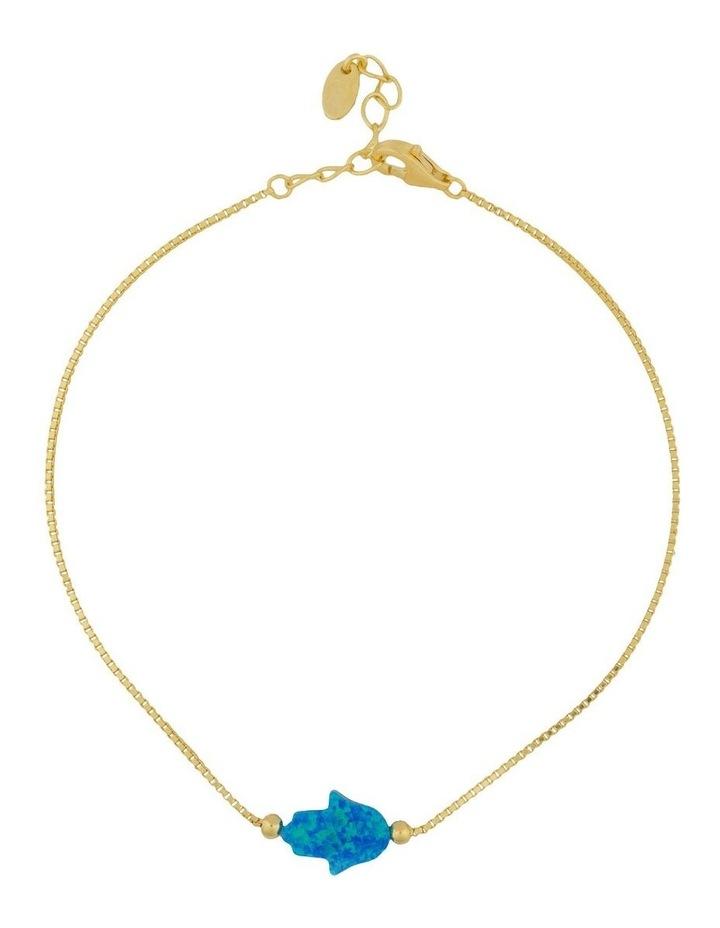 Sterling Silver Mini Hamsa Gold Fine Bracelet - Blue image 1
