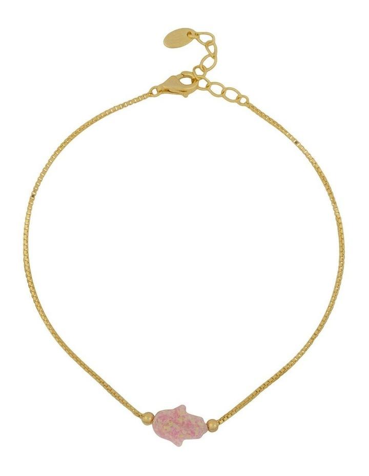 Sterling Silver Mini Hamsa Gold Fine Bracelet - Pink image 1