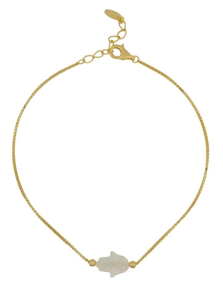 Sterling Silver Mini Hamsa Gold Fine Bracelet - White image 1