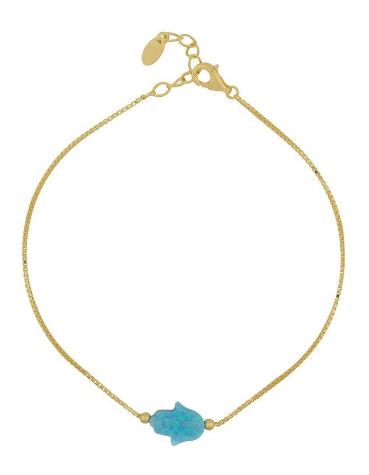 Sterling Silver Mini Hamsa Gold Fine Bracelet - Light Blue image 1