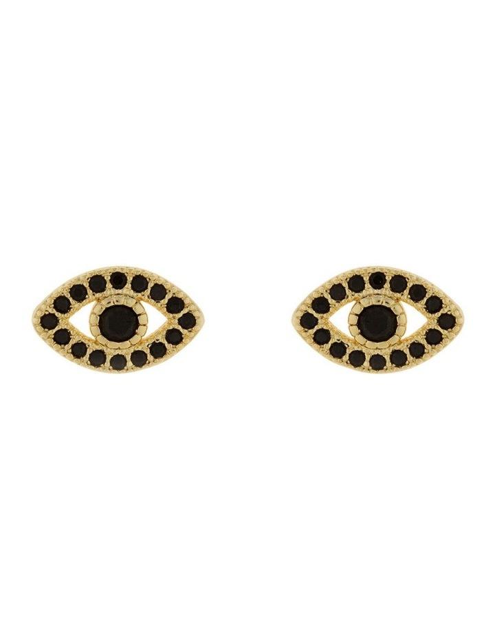 Mini Evil Eye Stud Earrings - Light Gold image 1