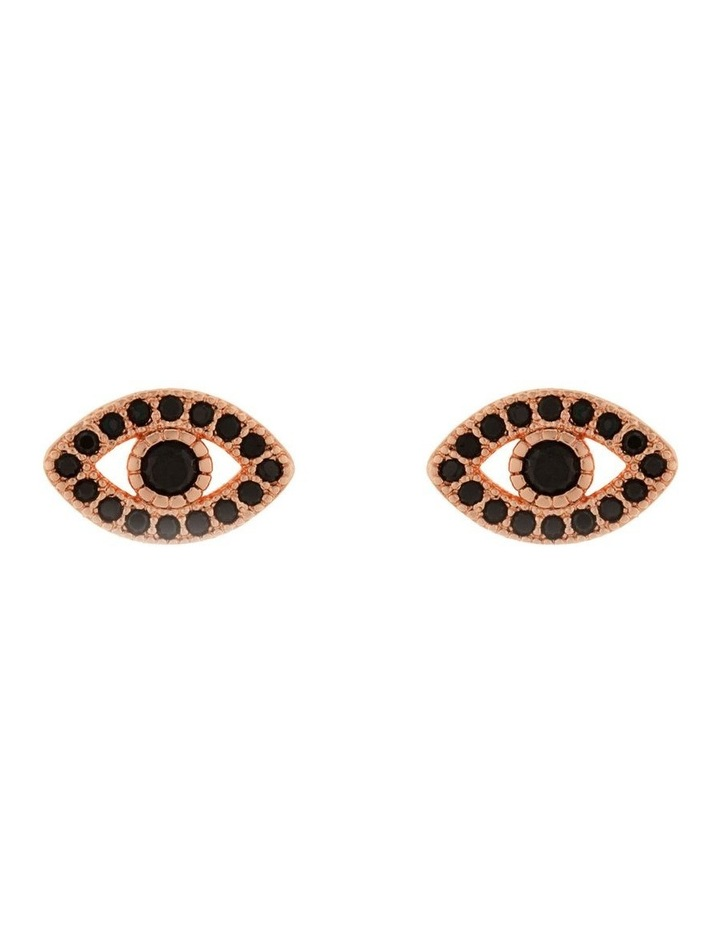 Mini Evil Eye Stud Earrings - Rose Gold image 1