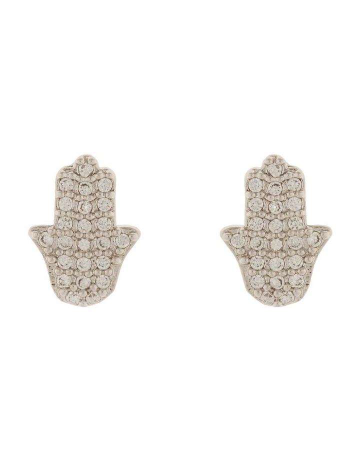 Hamsa Stud Earrings w/ Cubic Zirconia - Silver image 1