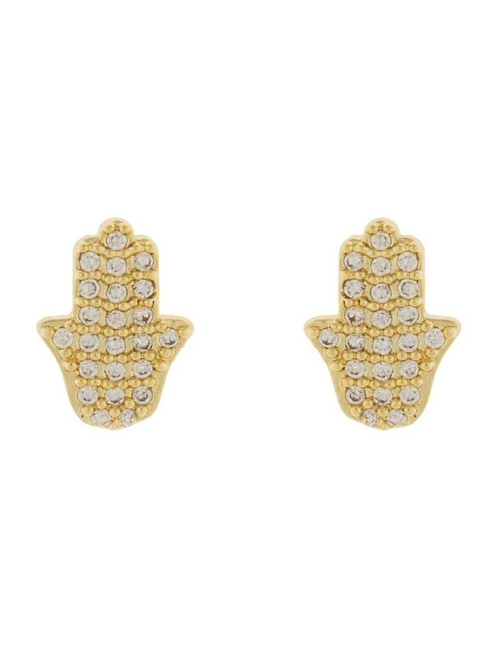 Hamsa Stud Earrings w/ Cubic Zirconia - Light Gold image 1