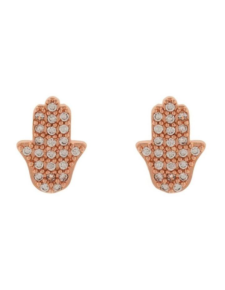 Hamsa Stud Earrings w/ Cubic Zirconia - Rose Gold image 1