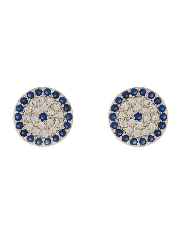 9mm Stud Earrings w/ Cubic Zirconia - Silver image 1