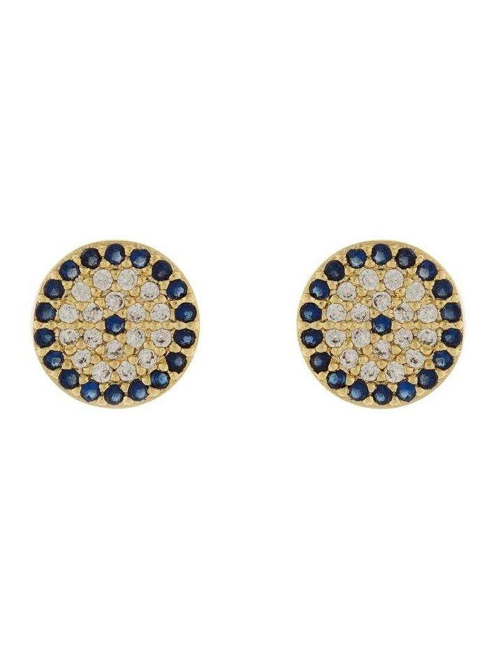 9mm Stud Earrings w/ Cubic Zirconia- Light Gold image 1