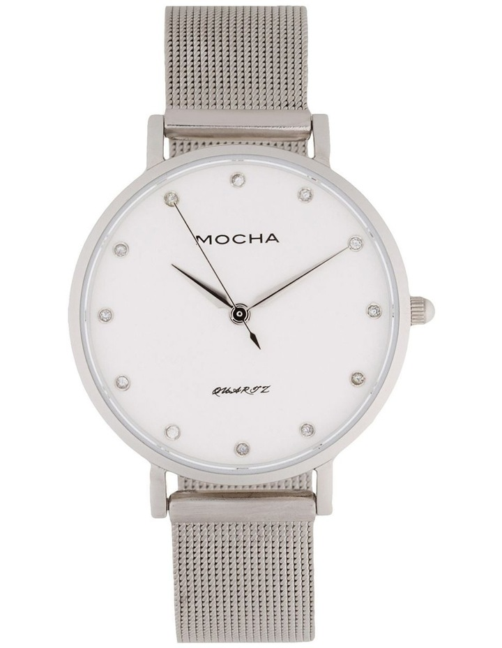 Cubic Zirconia 32mm White/Silver Mesh Quartz Watch image 1