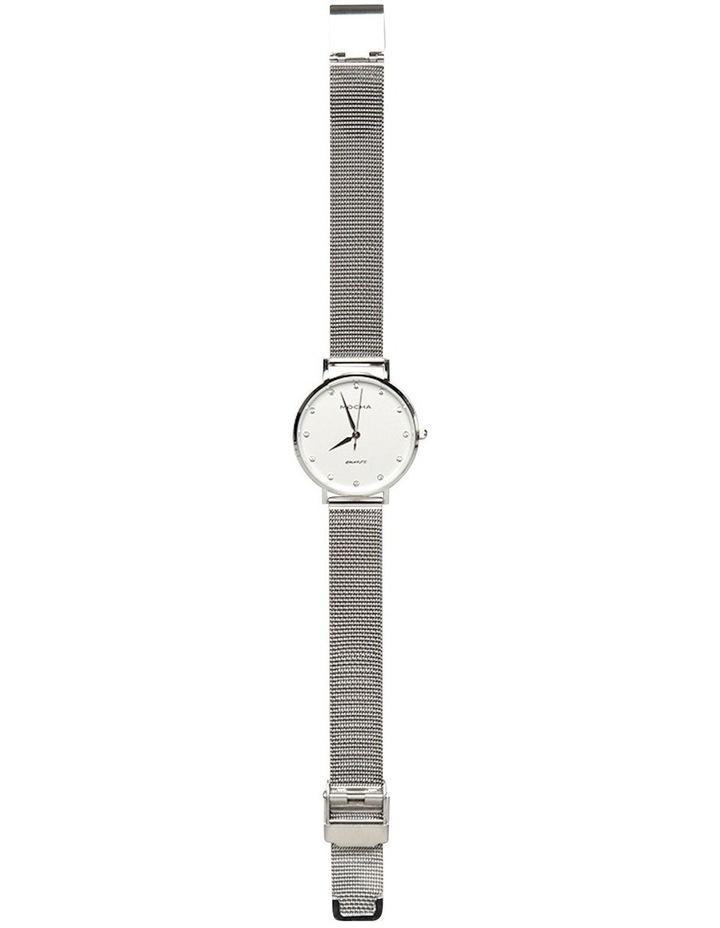 Cubic Zirconia 32mm White/Silver Mesh Quartz Watch image 3
