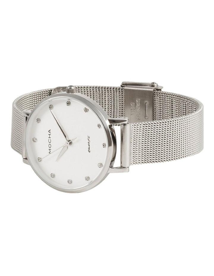 Cubic Zirconia 32mm White/Silver Mesh Quartz Watch image 4