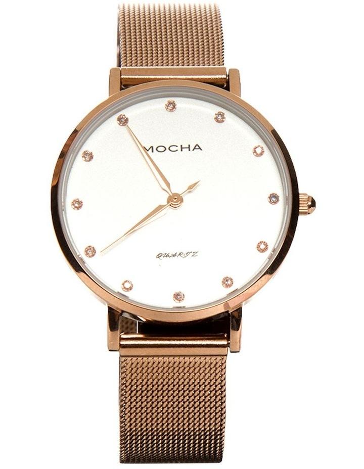 32mm Watch w/ Cubic Zirconia - White/Rose Gold Mesh image 1