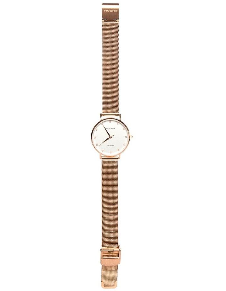 32mm Watch w/ Cubic Zirconia - White/Rose Gold Mesh image 2