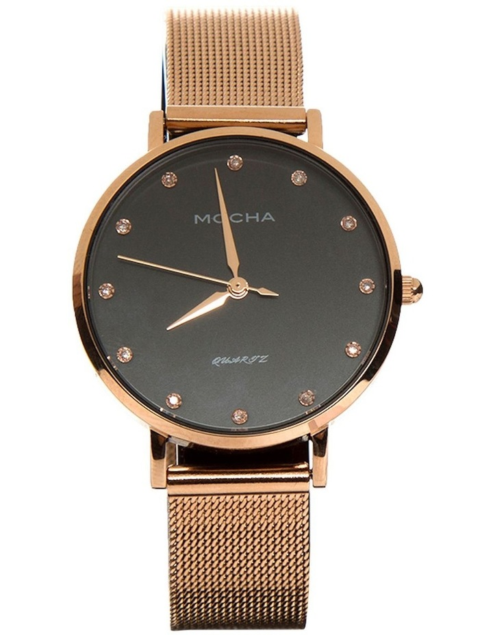 32mm Watch w/ Cubic Zirconia -Black/Rose Gold Mesh image 1