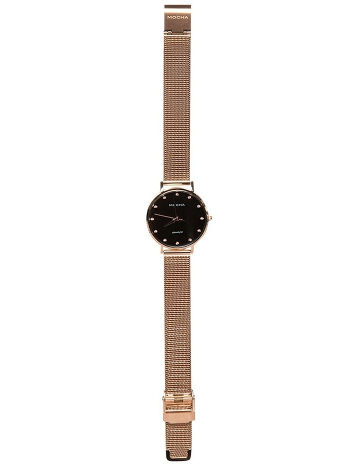 32mm Watch w/ Cubic Zirconia -Black/Rose Gold Mesh image 2